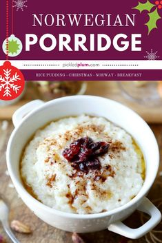 Norwegian Porridge - Christmas for breakfast is a big bowl of creamy rice pudding topped with dried cranberries, cinnamo and butter. A classic dish from Norway, risgrot is the ultimate comfort breakfast food! Honey Recipes, Sweet Recipes, Rice Recipes, Brunch Recipes, Breakfast Recipes, Dessert Recipes, Dinner Recipes, Vegan Breakfast, Breakfast Ideas