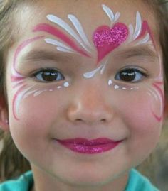 Glitter heart face paint #snazaroo #facepaint #valentinesday