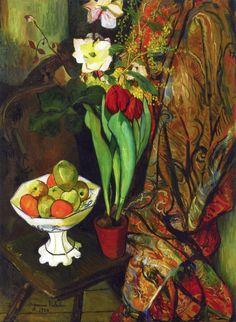 Suzanne Valadon - Still Life  with Tulips and Fruit Bowl