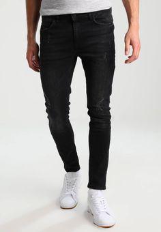 YOURTURN. Slim fit jeans - black denim. Materiaal buitenlaag:98% katoen, 2% elastaan. Pasvorm:nauwsluitend. wasvoorschrift:niet geschikt voor de droger,machinewas tot 30°C. broekzakken:achterzakken,zijzakken. materiaalverwerking:denim. b...