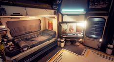 Sleeping quarters for the ship workers sent to set in motion the first stages of colonizing Mars! Workers will spend most of their time outside of these quarters and use them primarily for sleeping and taking their morning and evening dose of medicine Spaceship Interior, Futuristic Interior, Spaceship Design, Futuristic City, Star Citizen, Mars, Robinson, Sci Fi Environment, Star Wars
