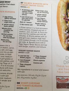 Tartar Sauce, Yogurt Cups, Salmon Burgers, Hot Dog Buns, Feta, Grilling, Crickets
