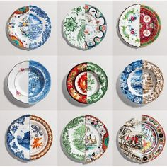 Seletti Italian Porcelain Hybrid Collection -- Top Row: Salad Plates -- Middle Row: Soup Bowls -- Bottom Row: Dinner Plates