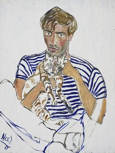Hartley with the Cat, 1967 (The Estate of Alice Neel and Victoria Miro gallery)