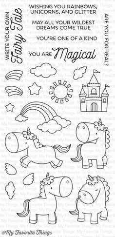 MFT STAMPS: Magical Unicorns x Clear Photopolymer Stamp Set) This 22 piece set includes: Rainbow halves x and x Clouds x x and x Stars x and x Castle x 1 Sun 1 x 1 Rainbow with clouds x 1 Unicorns Doodle Drawings, Doodle Art, Doodles, Mft Stamps, Magical Unicorn, Hand Embroidery Patterns, Embroidery Designs, Digital Stamps, Clear Stamps