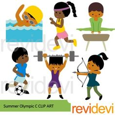Sport clip art featuring Summer Olympic games. Summer olympic dark skin clipart set features swimming, running, gymnastic, soccer, archery, and weight lifting. Great for Olympic Rio 2016 projects.Great resource for any school and classroom projects such as for creating bulletin board, printable, worksheet, classroom decor, craft materials, activities and games, and for more educational and fun projects.You will receive:- Each clipart saved separately in PNG format, 300 dpi with transparent…