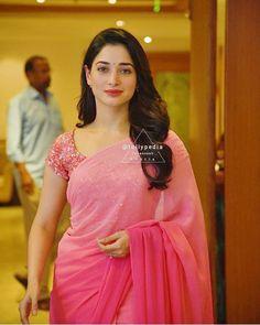 Indian Actresses, Elegant Saree, Indian Fashion, Pink Saree, Fashion, Designer Saree Blouse Patterns, Tamana, Blouse Designs, Saree Blouse Patterns