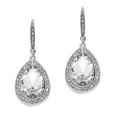 'PHOEBE' Pear Shaped Earrings with Crystal Accents - Item No: 4247E