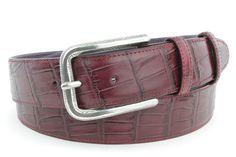 Burgundy mock alligator tail feather buckle belt, £119.50