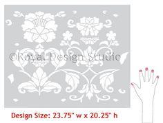 Allover Pattern Stencils   Butterfly & Peony Stencil   Royal Design Studio