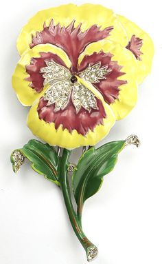 Trifari 'Alfred Philippe' Purple and Yellow Pansy Pin Clip