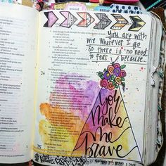 You make me brave Bible Verses About Love, Bible Verse Art, My Bible, Bible Study Journal, Journal Quotes, Art Journaling, Psalm 24, God Made Me, Bible Illustrations