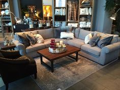 Grey on grey. From our Pearce Sectional in Perfomance Tweed.  Loving this new neutral color!