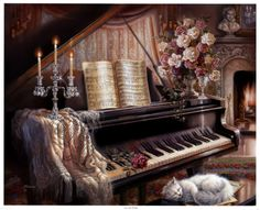 Sonata by Firelight Print by Judy Gibson at Art.com