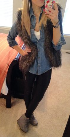 #express faux leather leggings, watch #target chambray shirt #forever21 vest #charlotterusse gray booties #fancypantsmommy