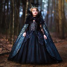 We hope it's haunting beautiful costume, cape and headpiece by amazing capture by Frocks For Girls, Little Girl Dresses, Flower Girl Dresses, Costume Halloween, Happy Halloween, Cute Girl Outfits, Kids Outfits, Queen Costume, Beautiful Costumes