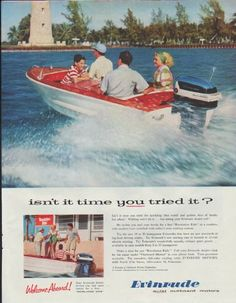 """Description: 1957 EVINRUDE vintage print advertisement """"isn't it time you tried it?""""-- Isn't it time you tried the sparkling blue world and golden days of family fun afloat? Evinrude -- quiet outboard motors. Welcome Aboard! Try the new 18 or 35 horsepower Evinrudes that have set new standards of big-load driving ability. -- Size: The dimensions of the full-page advertisement are approximately 10.5 inches x 13.25 inches (27cm x 34cm). Condition: This original vintage full-page advertisement…"""
