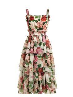 New Dolce Gabbana Rose-print tiered silk-chiffon midi dress Womens Dresses. Fashion is a popular style Swing Dress, Dress Skirt, Dress Up, Vestidos Vintage, Vintage Dresses, Spring Dresses Casual, Summer Dresses, Teen Dresses, Dress Casual