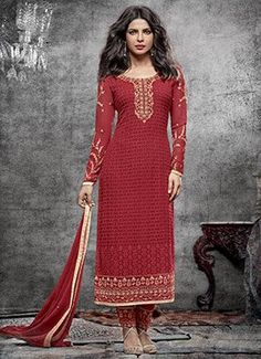 Priyanka Chopra Red Straight Pant Suit