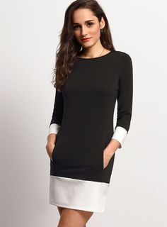 Donning 3/4 sleeves and a contrast pannel at the hem, this piece is finished with a shift silhouette ,So whether you wear this simple style on the weekend or dress it up for a night out, you'll find yourself reaching for this on the regular.