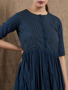 Buy Navy Blue Thread Embroidered Mulmul Dress online at Theloom Simple Kurta Designs, Kurta Designs Women, Dress Neck Designs, Blouse Designs, Feeding Dresses, Frock Patterns, Kurti Patterns, Ikkat Dresses, Cotton Long Dress