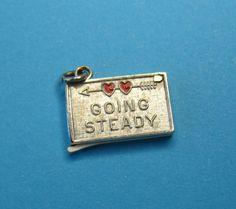 """Vintage Wells Sterling Silver Enamel """"Going Steady"""" Charm - THIS IS AWESOME!"""