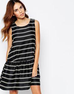 Glamorous Stripe Shift Dress with Peplum Hem