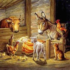 Nativity Scene illustrated by Audrey Tarrant Charity Christmas Cards, Christmas Card Packs, Christmas Jesus, Meaning Of Christmas, Christmas Nativity Scene, Christmas Scenes, Vintage Christmas Cards, Christmas Pictures, Christmas Art