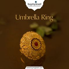Reflections of Perfection. Select from our alluring range of Umbrella Rings. Gold Jewelry Simple, Gold Rings Jewelry, Black Gold Jewelry, Gold Ring Designs, Gold Earrings Designs, Beautiful Gold Rings, Gold Temple Jewellery, Gold Mangalsutra Designs, New Jewellery Design