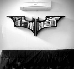 "The Dark Knight Bookshelves A set of bookshelves. - The Dark Knight Bookshelves "" A set of bookshelves based on the popular franchise of Nolanverse Batman. No current stock, just made to order. Dimension : 22 x 32 inch / 56 x 82 cm "" The Dark Knight Trilogy, Batman The Dark Knight, Batman Dark, Batman Bookshelf, Batcave, Home And Deco, My New Room, Diy Hacks, Design Case"