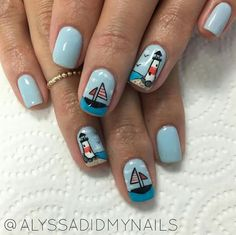 These Are Cute For The Beach And Summer Sail Away Blue Anchor - Spongebob nail decals