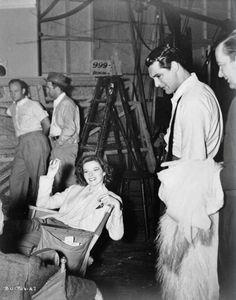 Katharine Hepburn and Cary Grant on the set of Bringing Up Baby (1938)