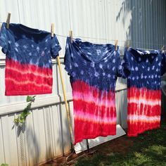 Who needs to buy a shirt for 4th of July when you can make your own tie-dye fun!!