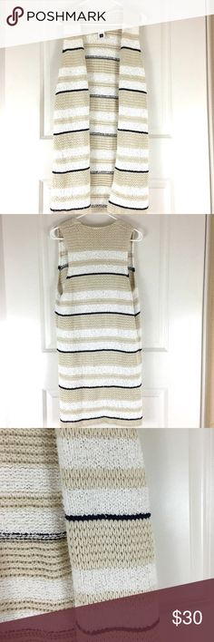 GAP french terry cotton knit striped sweater vest Size small. New with tags. GAP Sweaters Cardigans