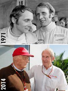 """Then and now - 1971 to Niki Lauda and Dr Helmut Marko at the Red Bull Racing, F1 Racing, Italian Grand Prix, Monaco, Formula 1 Car, Ferrari F1, Michael Schumacher, F1 Drivers, Sports Stars"