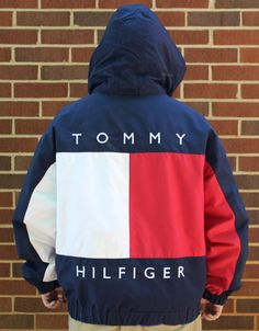 Vintage Tommy Hilfiger Mens Hooded Coat Jacket XL by TheUnextreme