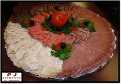 PARTY PLATTER FOR 10 (3 1/2 LBS. Assorted Cold Cuts - Your Choice, 1 LB. Cheese, 3LBS. Potato Salad, 1 Large Sliced Rye Bread, 1 Tray Of Pickles, Peppers, Tomatoes, Olives, Gherkins, Etc.) Deli Platters, Party Platters, Meat Rolls, Cold Cuts, American Hustle, Rye Bread, Banquet, Food Pictures, Finger Foods