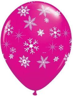 Schneeflocken & Glitzern Wildbeere Rosa 28cm QUALATEX Latex Ballons x 5