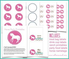 Horse Party Printable Pack---> everything you need for a party your sweet girl will love!