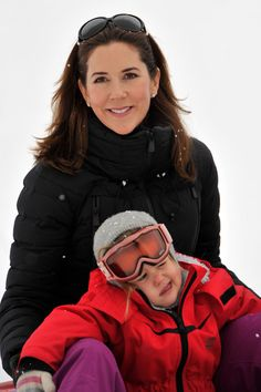Princess Mary of Denmark and Princess Josephine of Denmark meet the press, whilst on skiing holiday on February 14, 2014 in Verbier, Switzerland