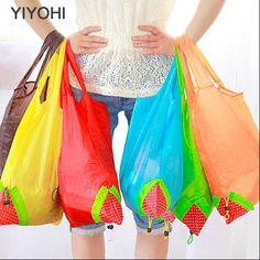 YIYOHI New Candy Color Strawberry/Animals shopping bag Thick bag Foldable Waterproof ripstop Women Shoulder Bag Storage Handbag