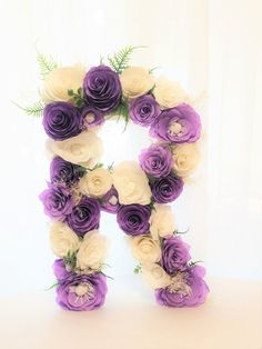 Large 16 Paper mache floral letter by Centerfaux on Etsy