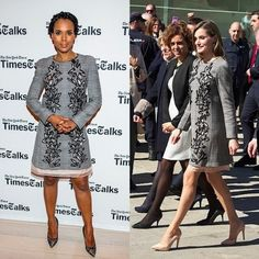 Queen Letizia and Kerry Washington The Spanish royal paired her Carolina Herrera Prince of Wales cut-out dress with nude heels while attending the last day of the 'Woman and disability- We cross borders' International Congress in Avila, Spain in March 2017. The Scandal star opted for black pumps for her Times Talks appearance almost a year earlier in April 2016. Photos: Getty Images