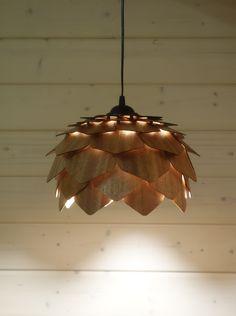 Подвесной светильник Бессмертник. Шпон махагона #veneer #lights #lamp #pendant