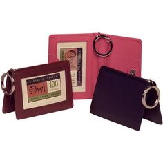 OWL Twofold ID Holders :: Multi-tasker essential!  Jazzy Pink, Cocoa, Red, Black and Sky Blue
