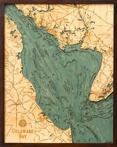 Delaware Bay (Delaware, New Jersey) | Nautical Wood Chart | Wood Map | Art - The Wooden Sailor | Wood Charts | Wood Maps
