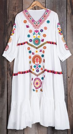 Product Code: Details: Embroidered V neck Tassel ornament Falbala Casual style Regular wash Fabric: Fre Boho Chic, Bohemian Style, Types Of Dresses, Nice Dresses, Beautiful Dresses, Casual Dresses, Boho Fashion, Fashion Outfits, Womens Fashion