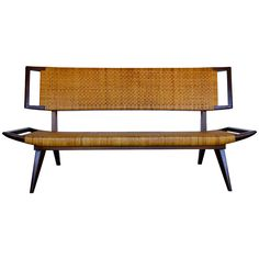 Paul Laszlo Caned Sofa Bench | From a unique collection of antique and modern sofas at http://www.1stdibs.com/furniture/seating/sofas/