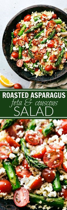 Roasted asparagus, fresh cherry tomatoes, garlicky couscous, and feta cheese with a simple vinaigrette. A great Spring or Easter side dish! via chelseasmessyapron.com