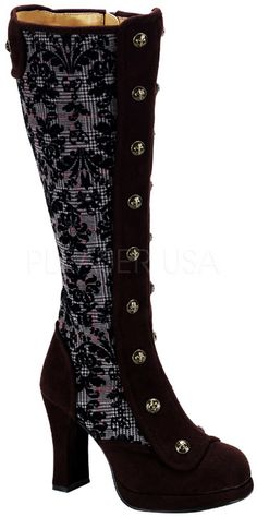 Hot-Steampunk-Victorian-Knee-High-Spats-Tweed-Lined-Heel-Boots-Shoes-Adult-Women